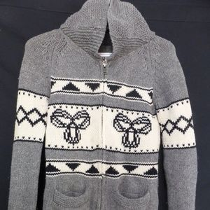 TNA, knit zip up sweater, charcoal grey GUC